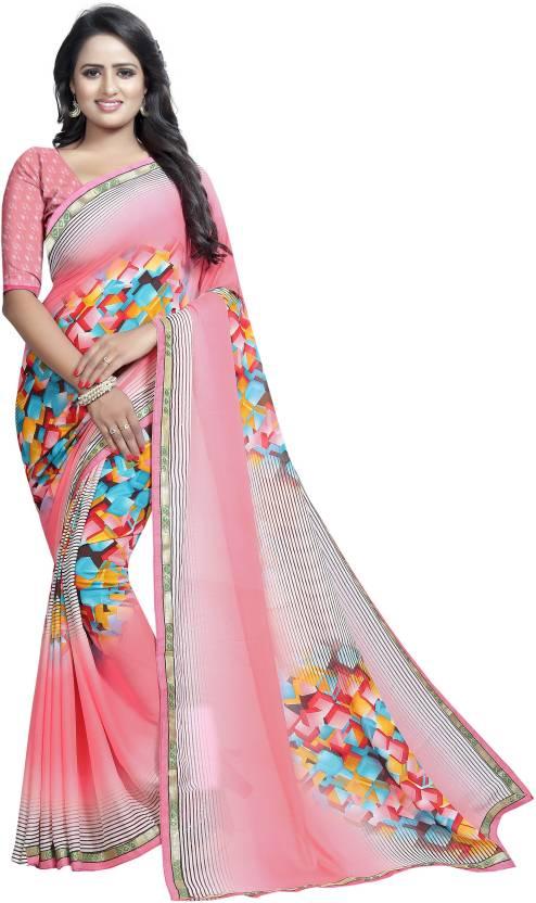 47729ccff3b2ae Buy Royalburn Printed Daily Wear Georgette Pink Sarees Online   Best ...