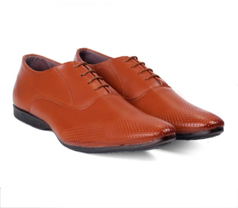 a3c81fbb42e5 GSTM Synthetic Leather Casual Office Use Wedding Formal Shoes For Mens And  Boys Lace Up For Men (Tan)