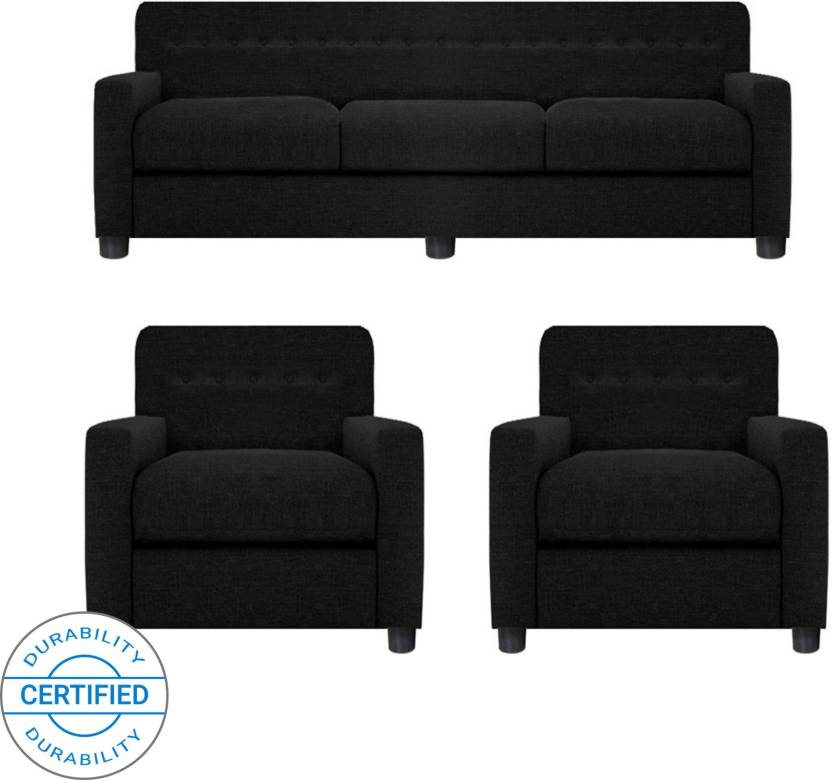 GIOTEAK Fabric 3 + 1 + 1 Black Sofa Set