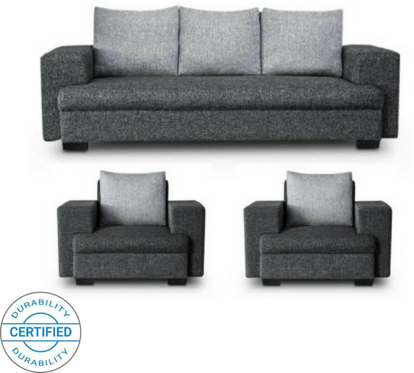 Gioteak Classy Fabric 3 1 1 Grey Black Sofa Set
