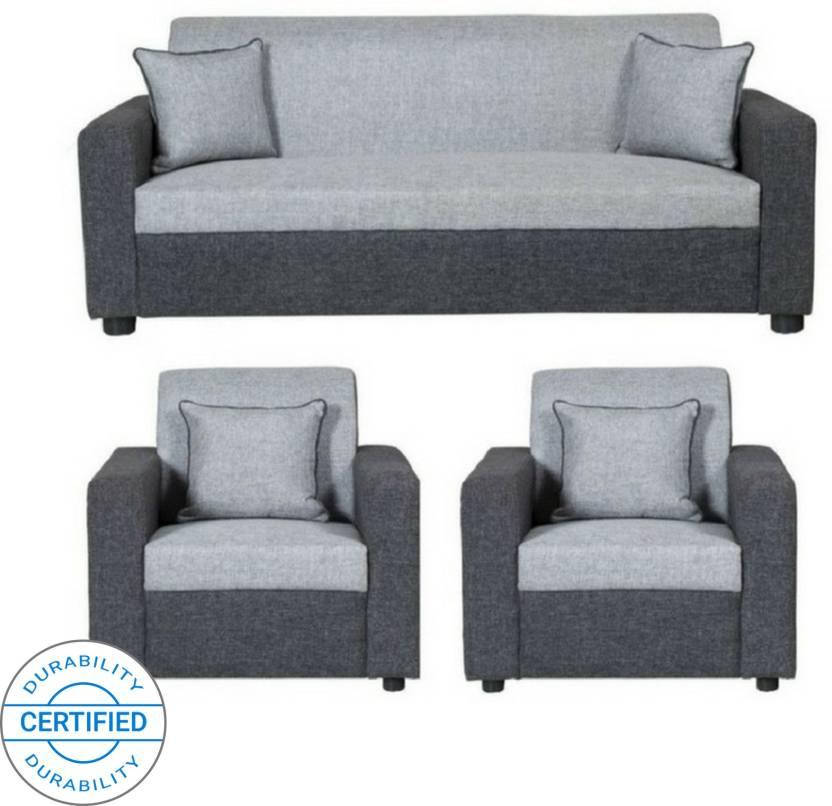 1 Light Grey And Black Sofa Set