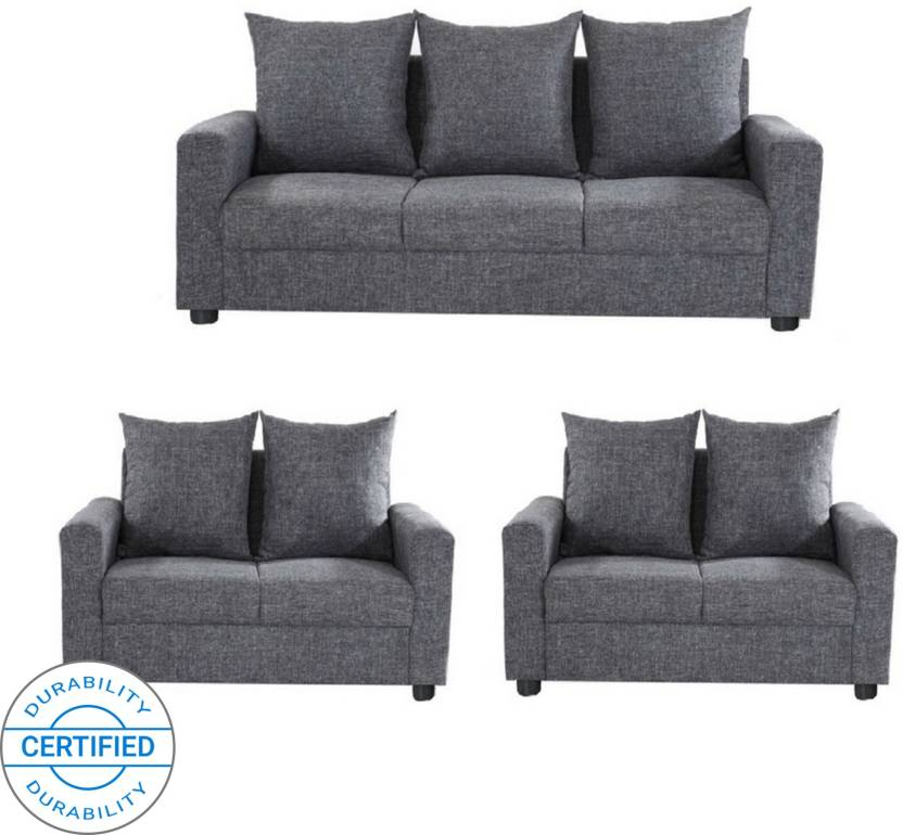Gioteak Fabric 3 2 Grey Sofa Set