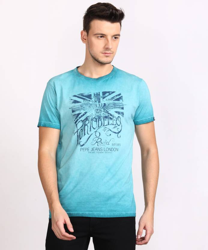 a22179bd63 Pepe Jeans Printed Men's Round Neck Blue T-Shirt - Buy TEAL Pepe ...