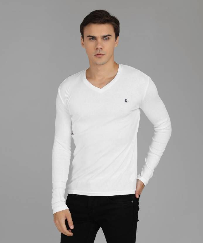 e3b12bb319a484 United Colors of Benetton Solid Men V-neck White T-Shirt - Buy United  Colors of Benetton Solid Men V-neck White T-Shirt Online at Best Prices in  India ...