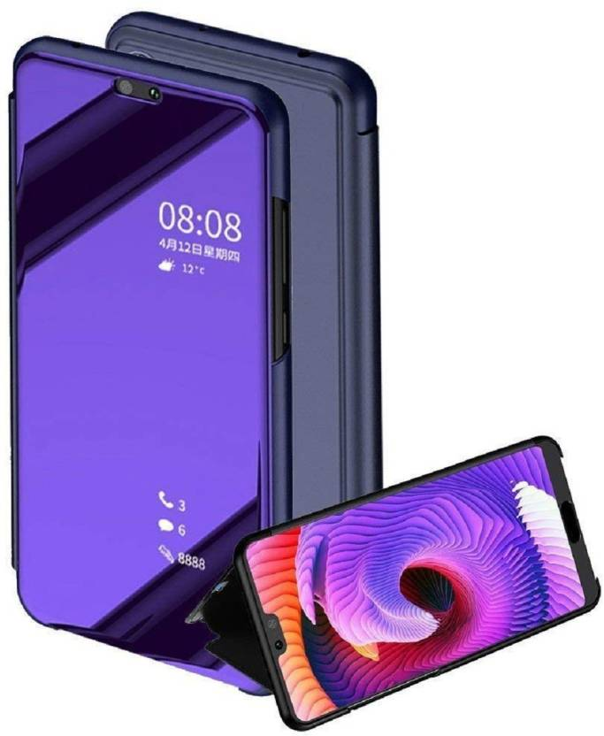 AMIS Flip Cover for Oppo F7 ?Luxury Clear View Mirror Smart View Case Flip Cover (BLUE, Metal)