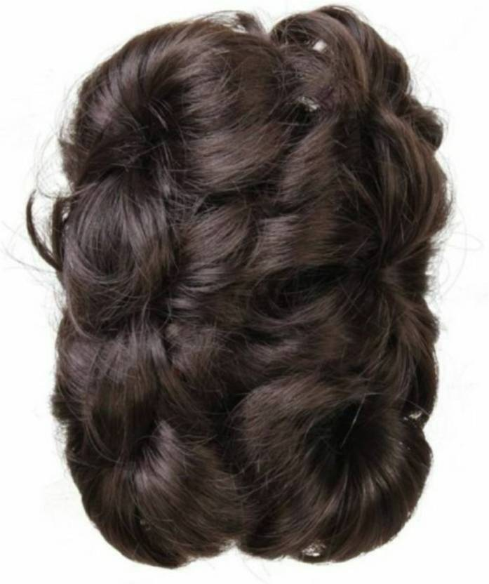 Alizz Brown Natural Looks Hair Bun Artificial Clutch Wig For Girls