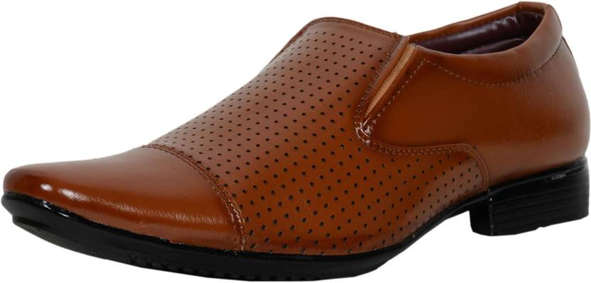 0bfb6cc45f4b GSTM Synthetic Leather Casual Office Use Wedding Formal Shoes For Mens And Boys  Slip On For Men (Brown)
