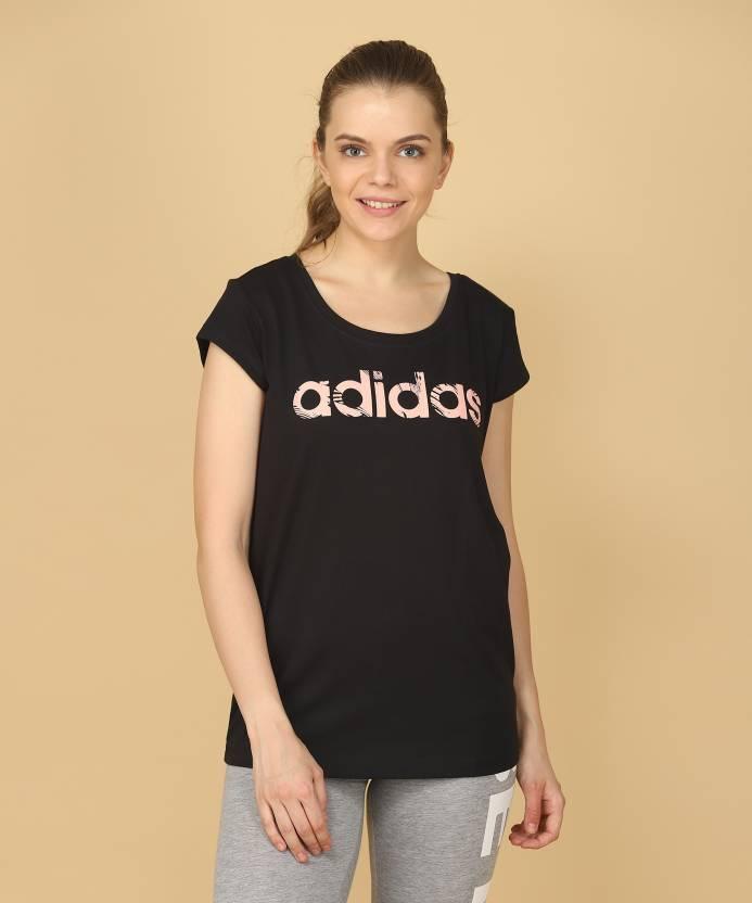 87f05da5 ADIDAS Printed Women's Round Neck Black T-Shirt - Buy Black/Hazcor ...
