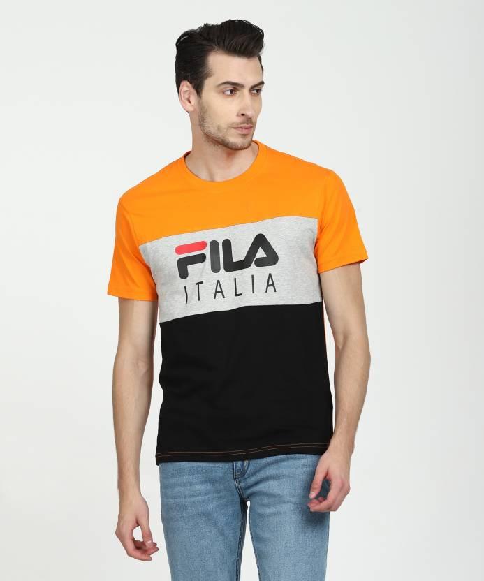 01981fa857 Fila Printed Men Round Neck Grey, Dark Blue, Orange T-Shirt - Buy Fila  Printed Men Round Neck Grey, Dark Blue, Orange T-Shirt Online at Best  Prices in India ...