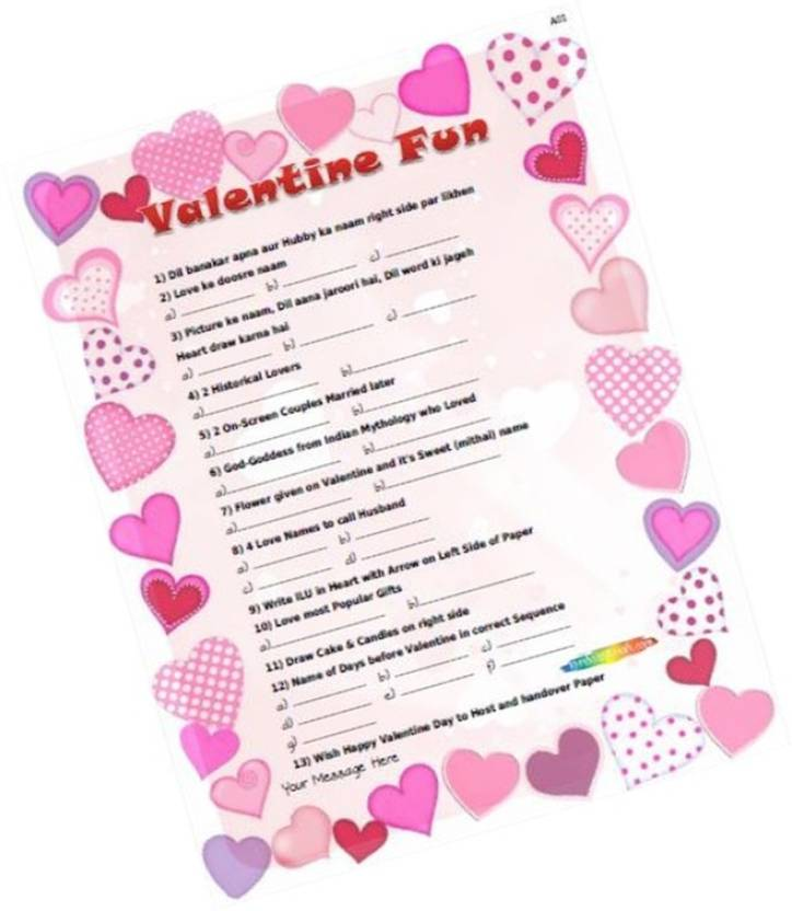 Partystuff Valentine Quiz 1 Quiz Ques Ans In Paper Games 12 Cards