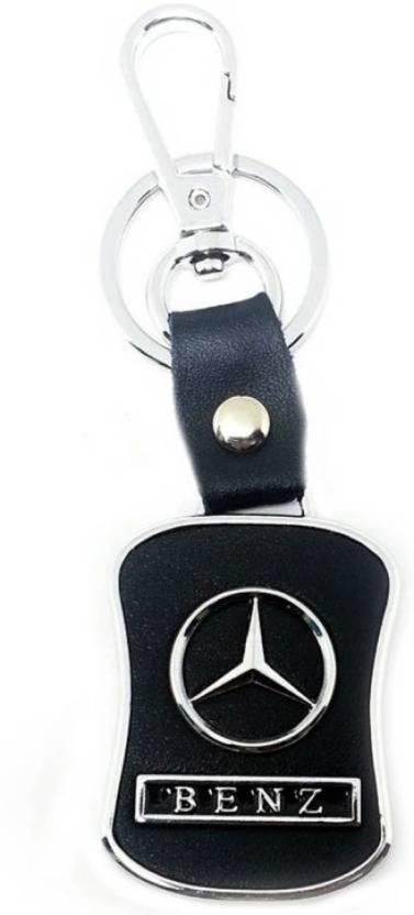 b76b5dce7afbda Jakha Mercedes Benz Leather Metal Logo Locking Curved Locking Key Chain for  Men Women Boys Girls Car Bike ...