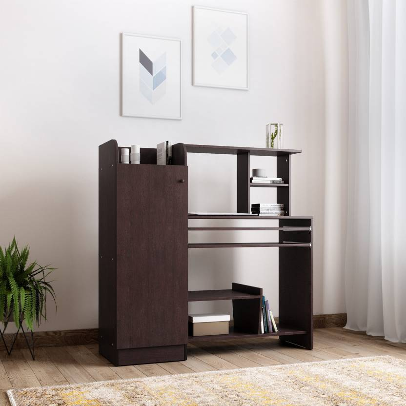 Valtos Engineered Wood Study Table Free Standing, Finish Color   Wenge