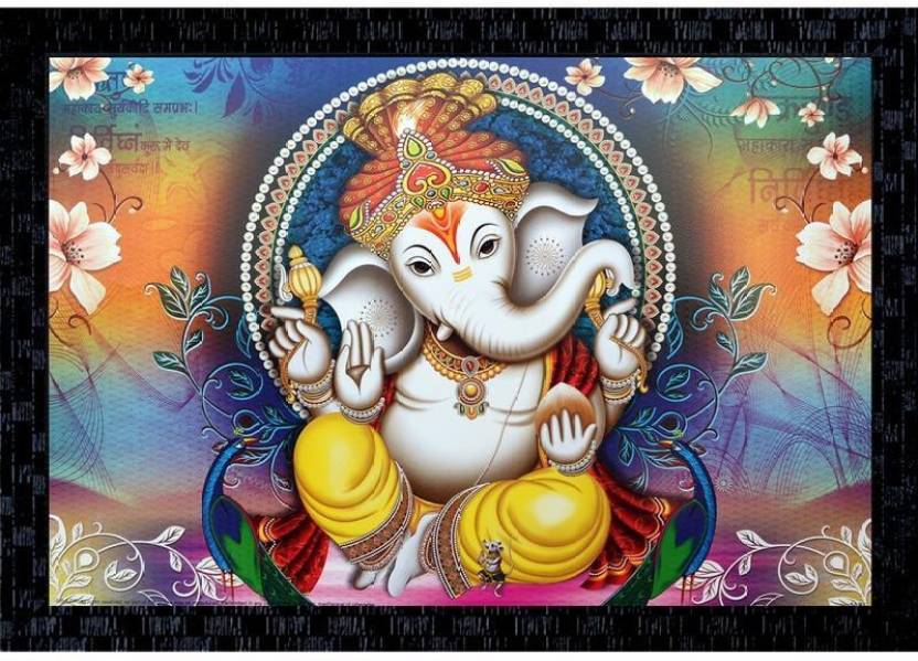 Janki Beautiful Ganesh Ji Wall Painting Canvas 14 Inch X 20 Inch