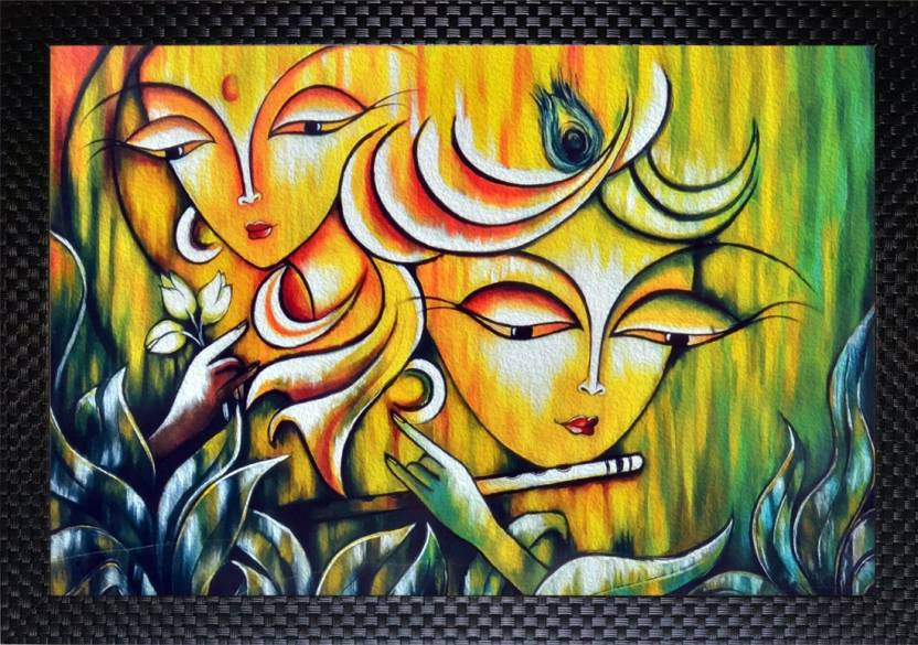 Janki Beautiful Radha Krishna Playing Flute Modern Art Wall Painting For Home And Office And Bedroom Digital Reprint Painting