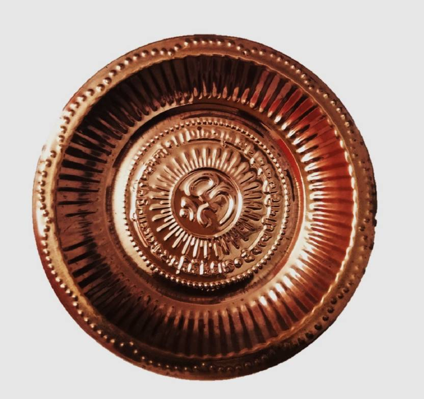 sarah online store Copper Handmade Puja Thali with Om Symbol