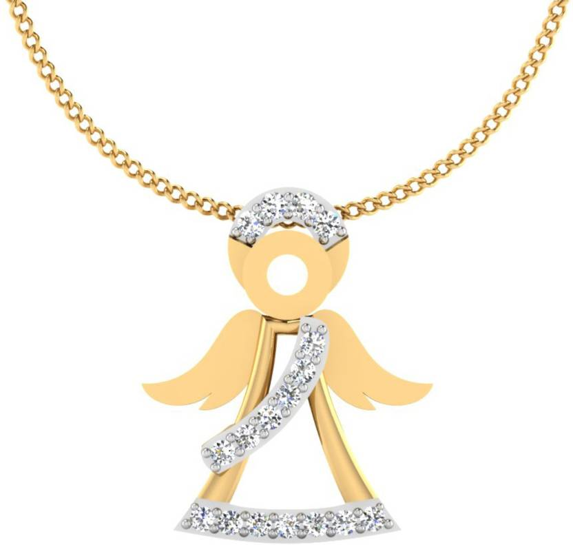 0112c9ea1c4b9 IskiUski Angel Baby Girl Gold Pendant 18kt Swarovski Crystal Yellow ...