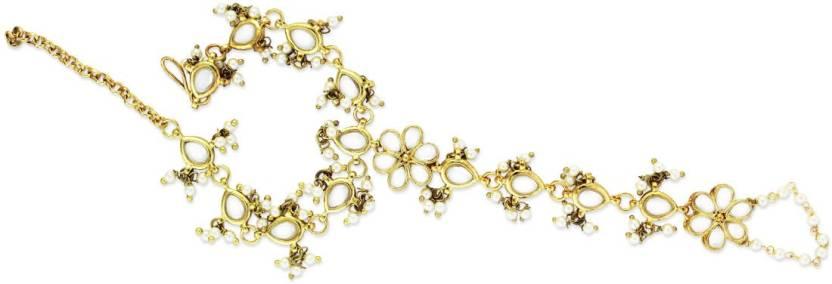 ca28fb8752 Karatcart Karatcart GoldPlated Kundan Pearl Chain Hathphool for Women Alloy  Gold Plated Chain Ring - Single