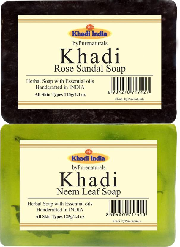 khadi Bypurenaturals Rose Sandal Soap + Neem Leaf Soap - 125gm (1x2
