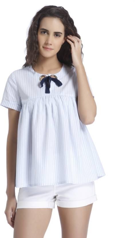 b1abaa4251c3ea Vero Moda Casual Half Sleeve Striped Women s White Top - Buy Vero Moda  Casual Half Sleeve Striped Women s White Top Online at Best Prices in India  ...