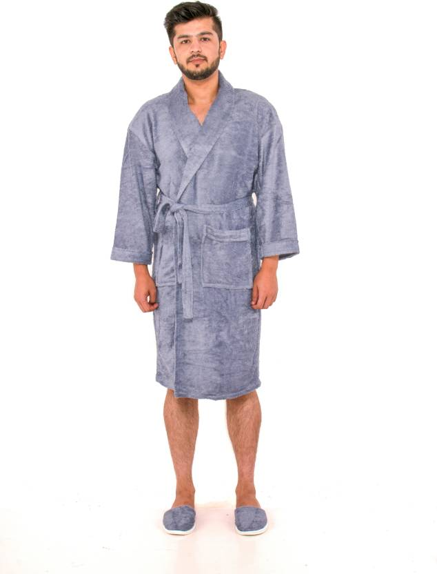 KOYOKA Grey Free Size Bath Robe (1 King Bathrobe With 1 Matching Sipper 840d1271b