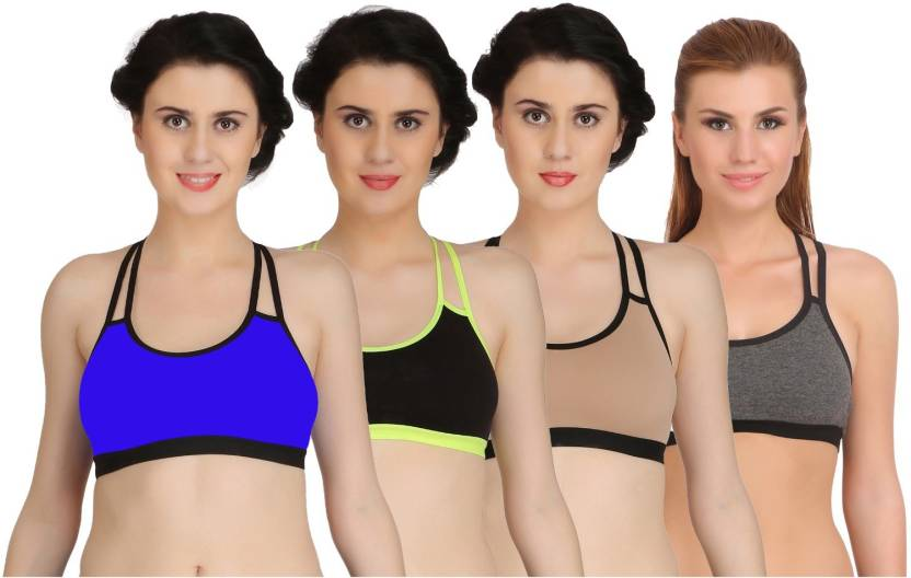 3702cbadb0 Arousy bySeamless Wirefree Girl s Bra Medium Coverage Bra For Women  Racerback Styled Cotton Lycra Sports Bra Pack of 4 Women Sports Non Padded  Bra ...