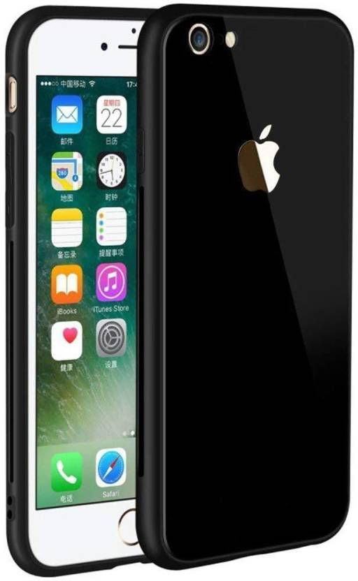 best website b813e 731a1 AM7 Back Cover for IPHONE 7 Glass Back with Mirror View and Silicone Soft  Rubbered chrome for Iphone 7 (Black)