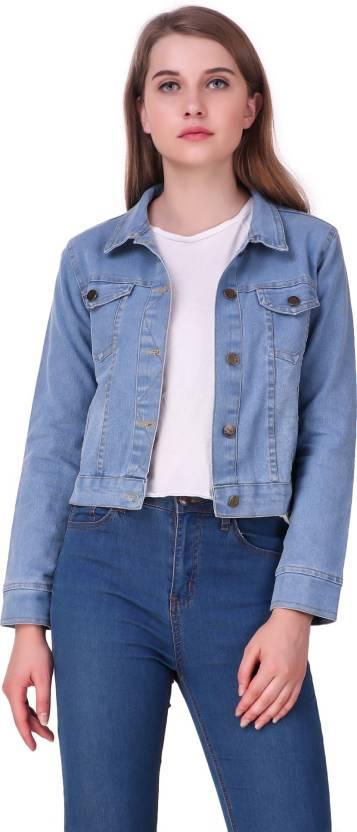 25fee1e5bbf Clo Clu Full Sleeve Solid Women Denim Jacket - Buy Clo Clu Full ...