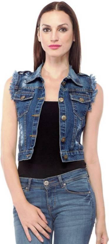 b428437fb0f Girls Shopping Sleeveless Self Design Women Denim Jacket - Buy Girls  Shopping Sleeveless Self Design Women Denim Jacket Online at Best Prices in  India ...