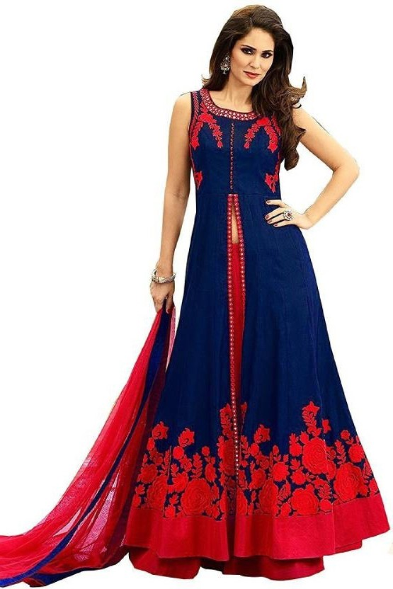 71b848c8512 Ujiba embroidered semi stitched lehenga choli and dupatta set blue red jpeg  555x832 Stitched lehnga