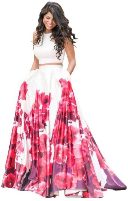 86503881e8 Sudhati Fashion Floral Print Semi Stitched Lehenga & Crop Top (Red, White)
