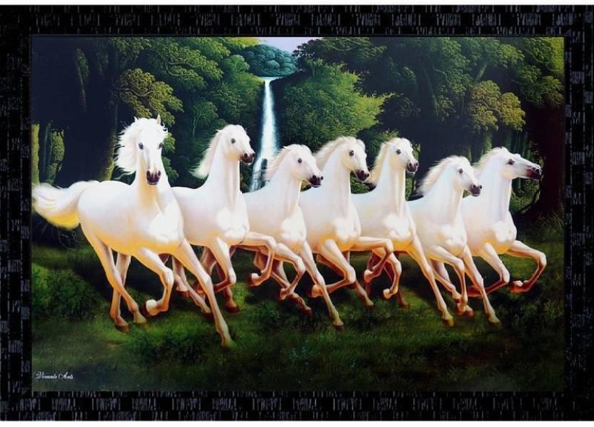 Janki Lucky Seven 7 White Running Horses Vastu Wall Painting