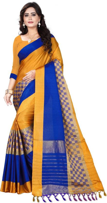 0c858f59ed69c2 Buy Lake Prints Striped Bollywood Cotton Gold Sarees Online   Best ...