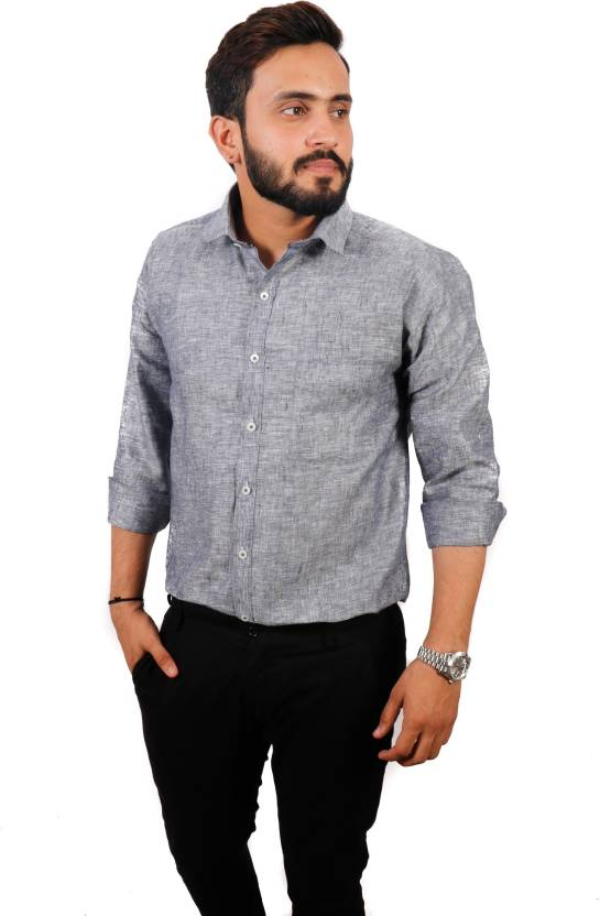 ab6acd2d6 PURPLE MANGO Men Self Design Casual Grey Shirt - Buy PURPLE MANGO Men Self  Design Casual Grey Shirt Online at Best Prices in India | Flipkart.com