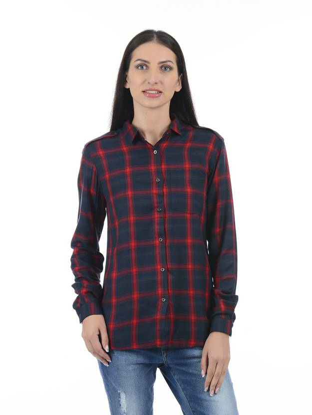 7b5cd376b3 Pepe Jeans Women Checkered Casual Red Shirt - Buy Pepe Jeans Women  Checkered Casual Red Shirt Online at Best Prices in India
