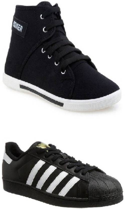 6d2ea13af1b Riuon COMBO PACK OF LACE UP STYLISH BLACK SNEAKER SHOES Casuals For ...