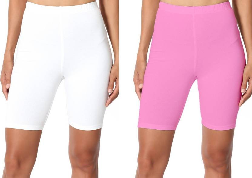 356fb3205c4b Omikka Solid Women White, Pink Cycling Shorts - Buy Omikka Solid Women White,  Pink Cycling Shorts Online at Best Prices in India | Flipkart.com