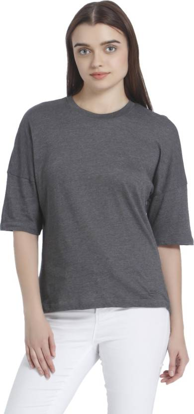 a1c00ca90e20 Vero Moda Solid Women Round Neck Grey T-Shirt - Buy Vero Moda Solid Women Round  Neck Grey T-Shirt Online at Best Prices in India | Flipkart.com
