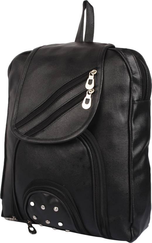 57ad2db002f1 Rajni Fashion PU Leather Backpack School Bag Student Backpack Women Travel  bag Tuition Bag 8 L Backpack (Black)