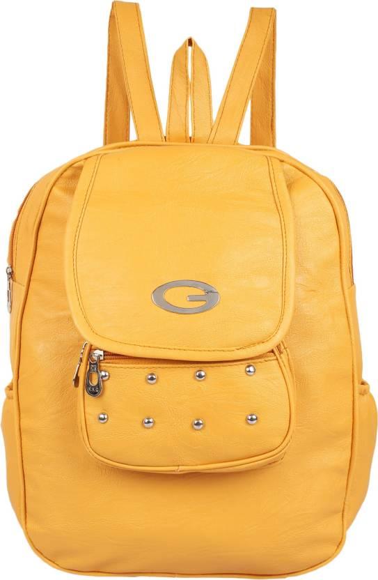 1e34a978b3fd Rajni Fashion PU Leather Backpack School Bag Student Backpack Women Travel  bag Tuition Bag 8 L Backpack (Yellow)