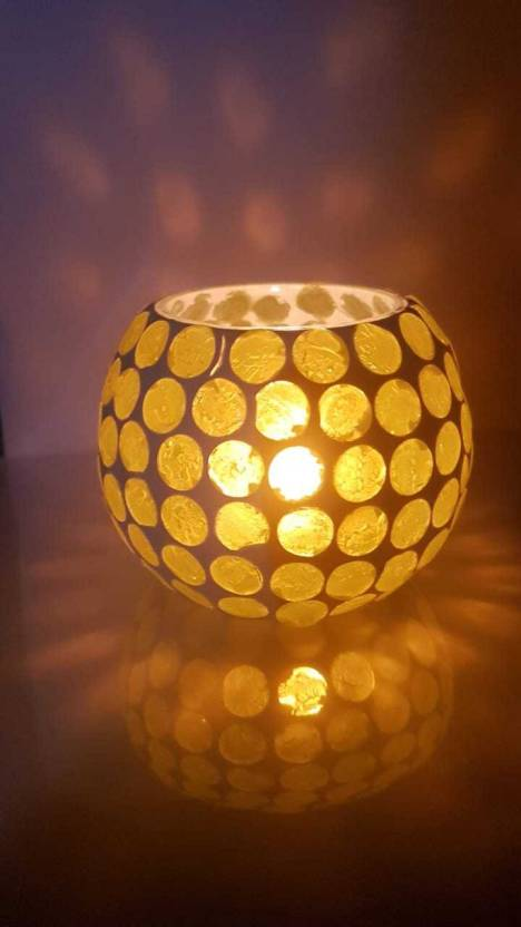 Home Tadka Ht Gl V3 0 Cup Tealight Holder Yellow White Pack Of 1
