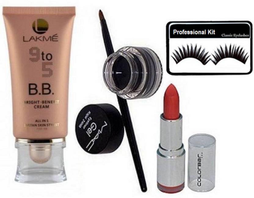 Professional kit Eyelashes,Lakme 9to5 bright benefit cream, Mac gel eyeliner& Colour lipstick (Set of 4)