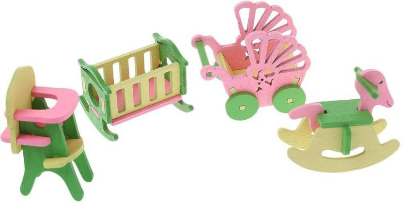 Webby Wooden Doll House Kids Play Room Set Multicolor Wooden Doll