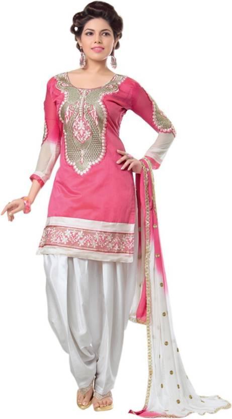 86c4273898 Zombom Fashion Chanderi Embroidered Salwar Suit Dupatta Material (Un- stitched)
