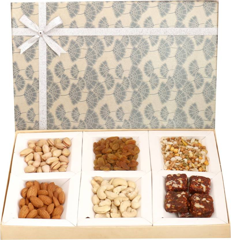 Ghasitaram Gifts Diwali Gifts - Hampers Grey 6 Part Assorted Dryfruits, Sugarfree Figs and Dates Bites and Roasted Namkeen Box Combo