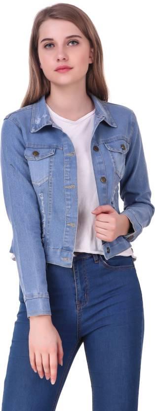 182bf336817 Clo Clu Full Sleeve Printed Women Denim Jacket - Buy Clo Clu Full ...