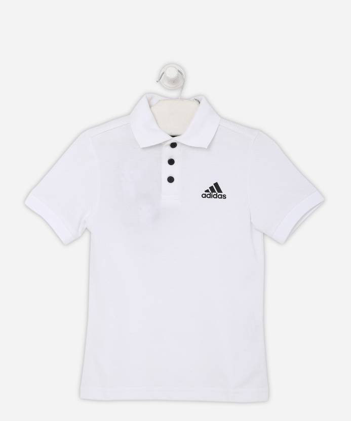eaa2b1745 ADIDAS Boys Solid Polyester Cotton Blend T Shirt (White, Pack of 1)