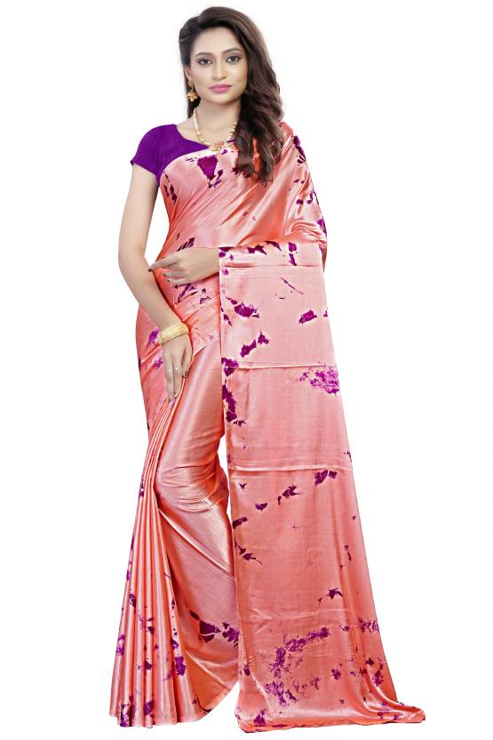 7e6bad898f Saloni Designer Printed, Dyed Gajee Satin, Silk Saree (Purple, Pink)