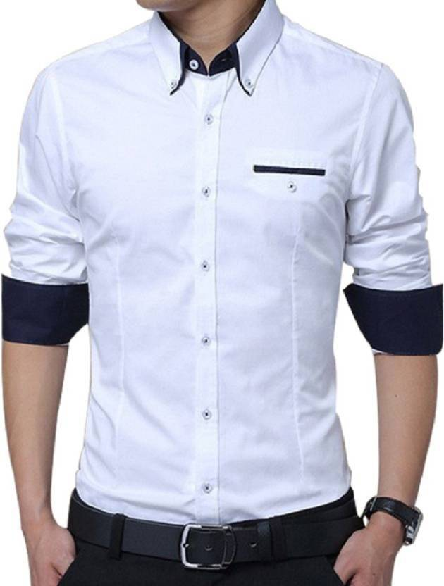 a6320a62b6c Qlonz store Men Solid Casual White Shirt - Buy White Qlonz store Men Solid  Casual White Shirt Online at Best Prices in India