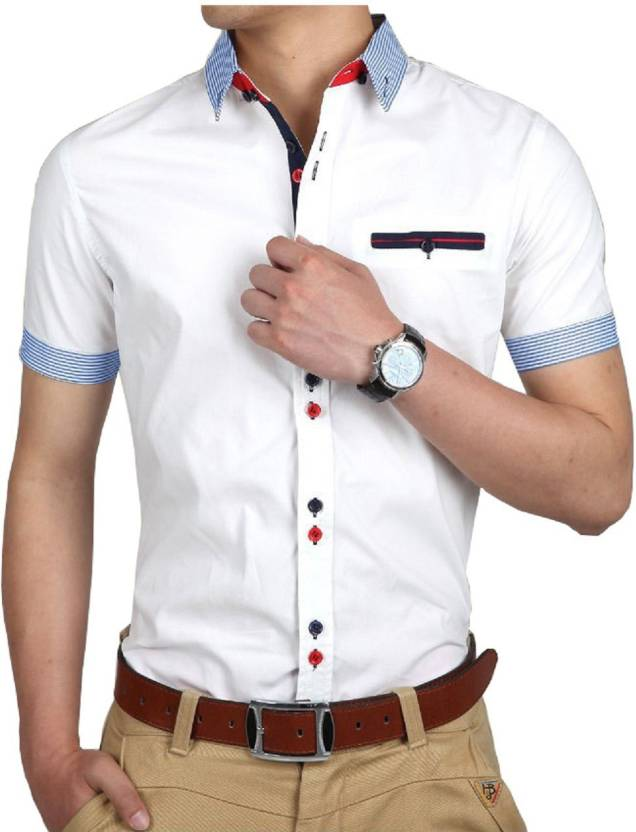 b5d443b13c0 pearl ocean Men Colorblocked Casual White Shirt - Buy pearl ocean Men  Colorblocked Casual White Shirt Online at Best Prices in India