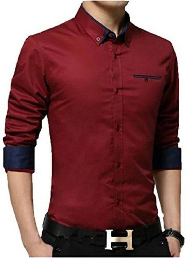 6a4d37093fc Qlonz store Men Solid Casual Red Shirt - Buy Red Qlonz store Men Solid  Casual Red Shirt Online at Best Prices in India